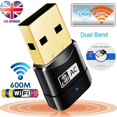600Mbps 2.4-5ghz USB Dual Band Wireless Adapter WiFi Dongle 802.11 AC Laptop PC • 6.02£