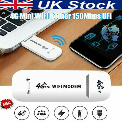 USB Wireless 4G LTE WIFI  Dongle Mobile Broadband 150Mbps Modem Sim Card • 13.99£