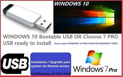 WINDOWS 10 Bootable USB OR Choose  7  PRO USB Ready To Plug And Play   Install • 12.99£
