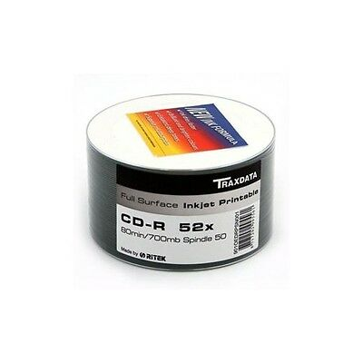 200 TRAXDATA BRANDED  52X CD-R FULLFACE PRINTABLE 4 X 50 • 34.50£