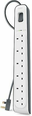 Belkin 6 Way Plug Gang 2m Surge Protection Extension Lead Strip - White • 22.99£