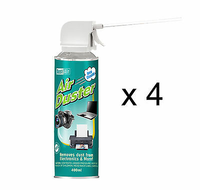 4 X 400ml Compressed Air Duster Cleaner Spray Can Canned Laptop Keyboard Mouse • 12.29£