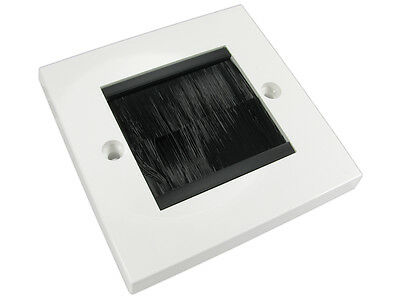 Single Gang White Surround With Black Brush FacePlate • 3.29£