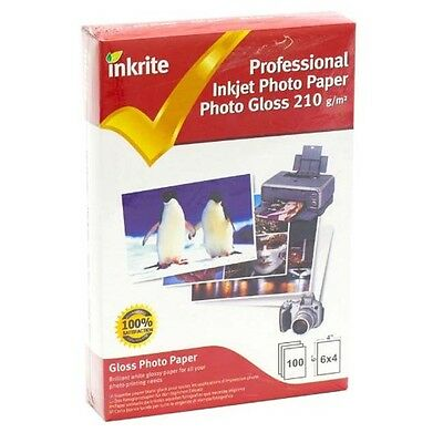 Inkrite Professional Inkjet Photo Paper / 100 Sheets Gloss / Glossy 210gsm 6x4  • 3.81£