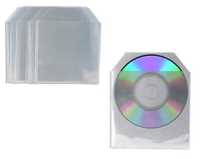 100 High Quality CD DVD Sleeves Plastic Cases Clear Poly Wallet Case Cover • 3.49£
