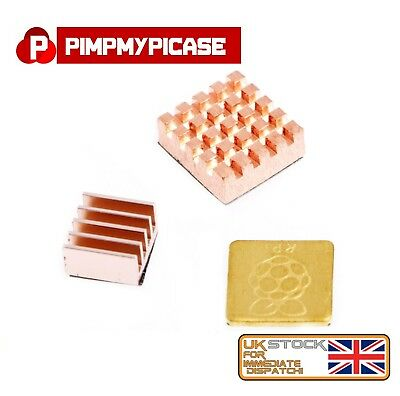 Raspberry Pi 2/3 Premium 3 X  Copper Heat Sink With 3M Special Thermal Cooling • 2.99£