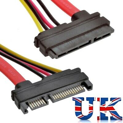 22 Pin 7 + 15 Male To Female Serial ATA SATA Data Power Combo Extension Cable UK • 2.99£