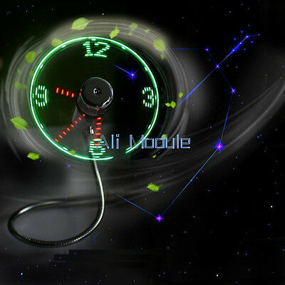 LED Clock Fan Mini USB Powered Cooling Flashing Real Time Display Function AM • 5.08£
