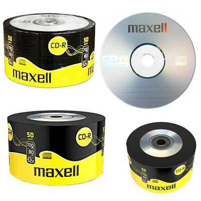 GENUINE MAXELL 50x CD-R BLANK RECORDABLE DISCS CDs MEDIA BLANK DISKS 52X SPEED • 10.99£