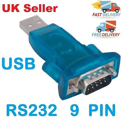 USB 2.0 To RS232 Serial Port DB9 9 Pin Male Converter Adapter Win7/8/2000/XP Mac • 3.49£