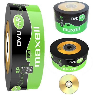 GENUINE MAXELL DVD+R 50 PACK BLANK DISCS RECORDABLE DVD 16x 4.7GB 120 MINS PC • 10.99£