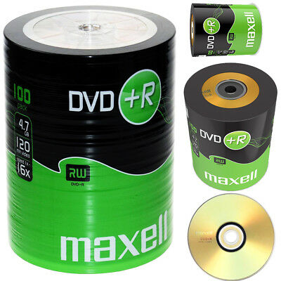 GENUINE MAXELL DVD+R 100 PACK BLANK DISCS RECORDABLE DVD 16x 4.7GB 120 MINS PC • 18.99£