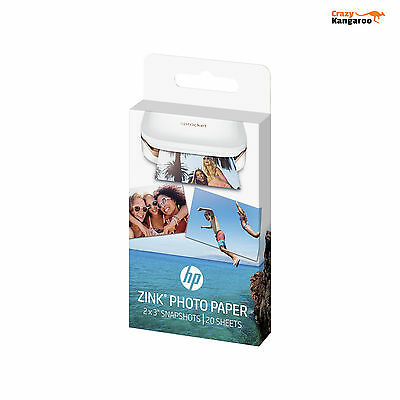 HP ZINK Sticky Backed 20 Sheets Photo Paper 2  X 3  For HP Sprocket Mini Printer • 8.90£