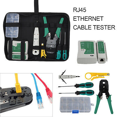 Ethernet Network Kit RJ45 RJ11 Cat5e LAN Cable Tester Cutter Crimping Punch Tool • 12.99£