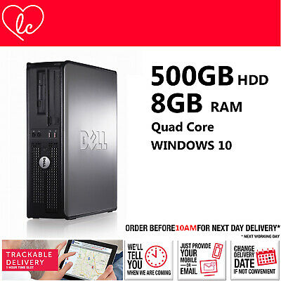 Fast Dell Quad Core Pc Computer Desktop Tower Windows 10 Wi-fi 8gb Ram 500gb Hdd • 72.99£