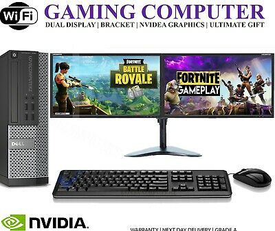 ULTRA FAST Gaming PC Bundle Intel Core I7 8GB 1TB Windows 10 GT710 DUAL SCREEN • 269.99£