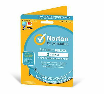 NORTON SECURITY DELUXE 2020 3 PC DEVICE  - INTERNET SECURITY - Download • 12.49£