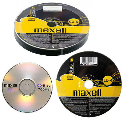 GENUINE MAXELL 10 X CD-R BLANK RECORDABLE DISCS CDs MEDIA BLANK DISKS 52X SPEED • 3.75£