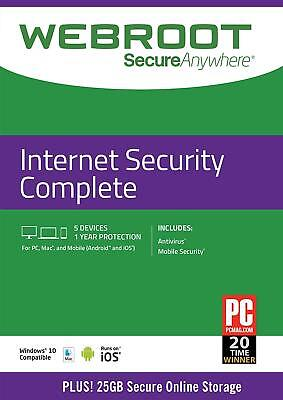 Webroot SecureAnywhere Internet Security COMPLETE 2020, 5 Devices 1 Year E-CARD • 17.99£