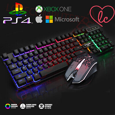 Gaming Keyboard AND Mouse Set Rainbow LED Wired USB For PC PS4 Xbox One  • 17.95£