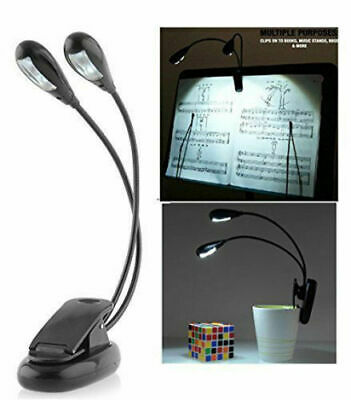 Dual Arms Clip On LED Lamp For Bed Table Book Reading Light - Bendable (4 LED's) • 5.99£
