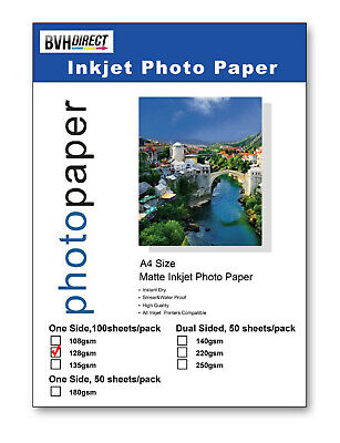 100 SHEETS MATT A4 PHOTO PRINTING PAPER 128gsm COLOUR INKJET MATTE HIGH QUALITY • 6.99£