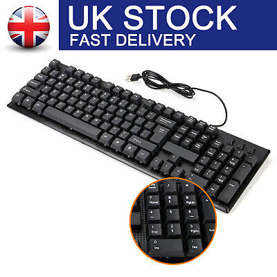 Usb Wired Stylish Slim Qwerty Keyboard Layout For Pc Desktop Computer Laptop • 6.49£