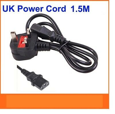 1.5m Kettle Iec Mains C13 Uk 3 Pin Power Lead Cable Plug Cord Pc Monitor Printer • 3.99£