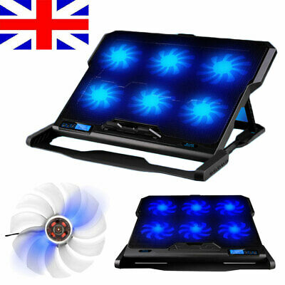 6 Fans Laptop Cooler Stand For 14  15.4  15.6  Quiet Cooling Pad + LED Backlight • 20.19£