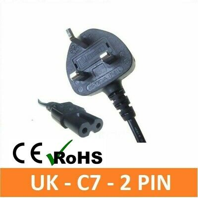 Uk Power Cable Figure Of 8 Lead C7 For Laptop Stereo Cd Player Ps2 Sky Box Cable • 3.75£