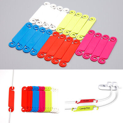 20 Pieces Plastic 5 Colors Cable Tags Marking Divider Cord Identification • 4.95£