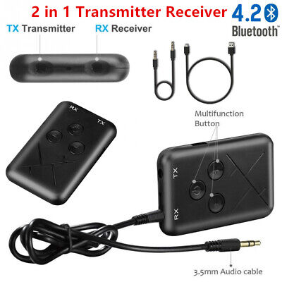 Bluetooth Wireless 2in1 Audio Transmitter Receiver 3.5MM AUX Audio Music Adapter • 4.95£