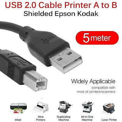USB High Speed 2.0 A To B Male Cable For Canon Samsung Hp Epson Printer 5 M • 2.45£