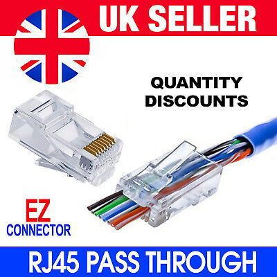 EZ RJ45 Crimp End Pass Through Connectors Network Lan Cable CAT5e CAT6 Wholesale • 9.95£