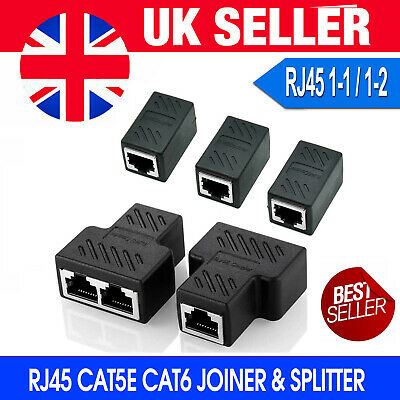 RJ45 Splitter Adapter LAN Ethernet Cable 1-2 Way Dual Female Port Connector Plug • 3.75£