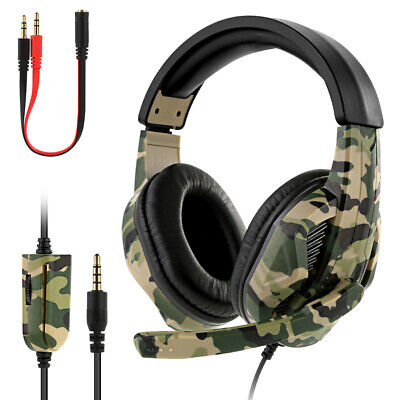 Gaming Headset Camo Stereo Headphone For NS PS4 Pro Xbox One Laptop 3.5mm W/ Mic • 11.99£