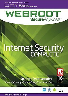Webroot SecureAnywhere Internet Security COMPLETE, 5 Devices 1 Year - DOWNLOAD • 16.99£