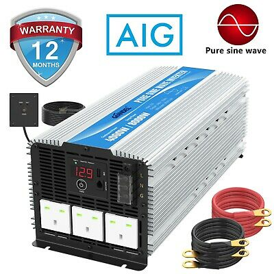 Power Inverter Pure Sine Wave 4000W DC 12V To AC 240V 40A Output Box Large Shell • 429.99£