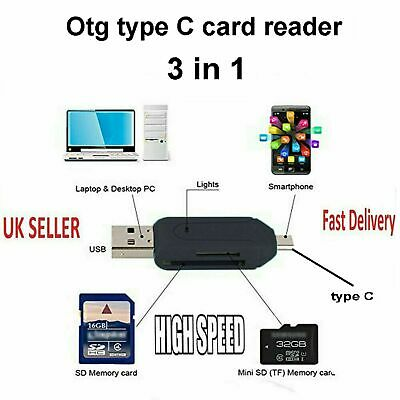 Type C Memory Card Reader Adapter USB 3.1 Otg For Micro Sd Sdhc  S8 S9 S10 S11 E • 2.99£