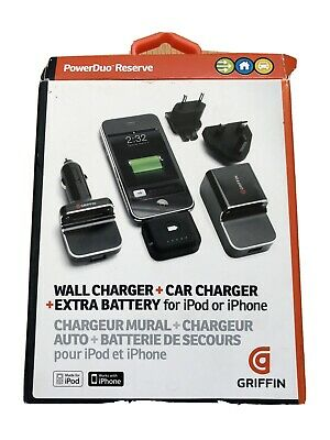 Griffin Iphone 3 3g 4 4s Powerduo Reserve Mains & Car Charger Plus Battery Ipod • 12.99£