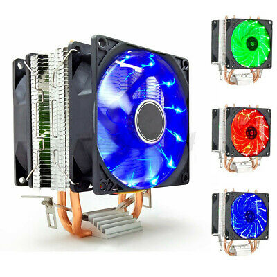 Dual Fan LED CPU Cooler Heatsink For Intel LGA 775/1156/1155 AMD AM3/AM4 Ryzen  • 13.79£