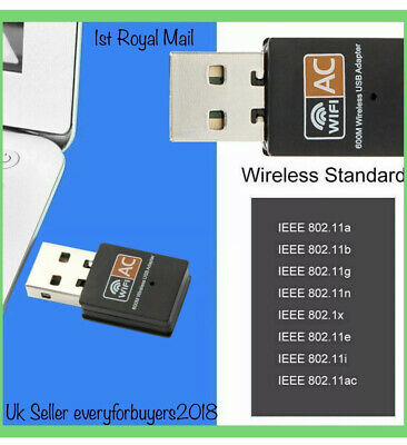 600 Mbps 2.4-5ghz USB Dual Band Wireless Adapter WiFi Dongle 802.11 AC Laptop PC • 6.15£