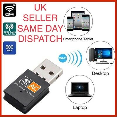 600 Mbps 2.4-5ghz USB Dual Band Wireless Adapter WiFi Dongle 802.11 AC Laptop PC • 2.80£