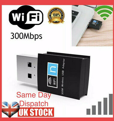 USB WiFi Dongle 802.11n 300Mbps Wireless Network Adapter For Laptop LAN Pc UK • 3.69£