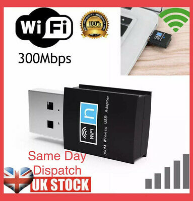 300Mbps USB WiFi Dongle 802.11 B/G/N Wireless Network Adapter For Laptop PC UK • 3.99£