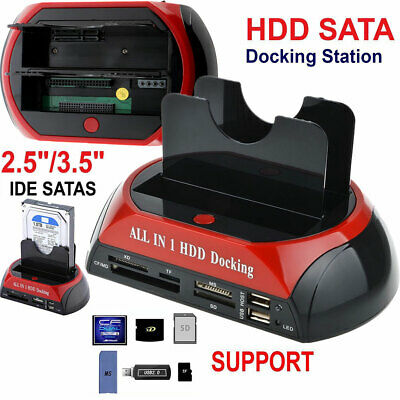 3.5″ 2.5″ HDD Docking Station IDE SATA Dual USB 2.0 Clone Hard Drive Card Reader • 18.89£