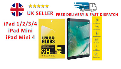 NEW Premium Tempered Glass Screen Protector For Apple IPad1/2/3/4,Air 1/2 ,Mini • 3.60£