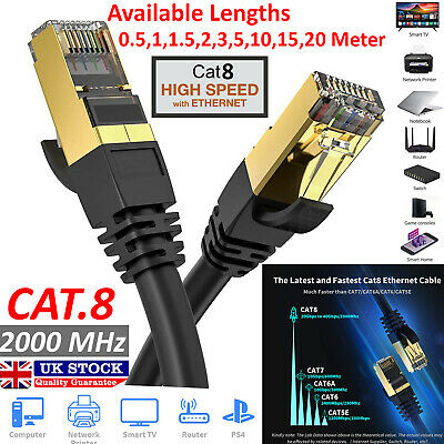 RJ45 Cat8 Ethernet Cable Network Gold 40Gbps SSTP Internet Patch LAN Lead Lot • 4.75£