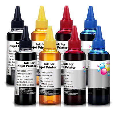 8x 100ml Universal Printer Refill Ink For Epson Canon Brother Lexmark HP - CISS • 10.99£