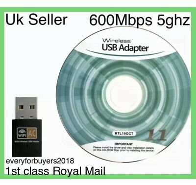600 Mbps 5ghz USB Dual Band Wireless Adapter WiFi Dongle 802.11 AC Laptop PC UK • 6.49£